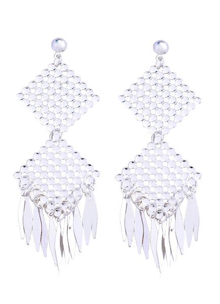 Weiße Anweisung Ohrringe Frauen Diamond Cut-Out Tropfen Ohrstecker