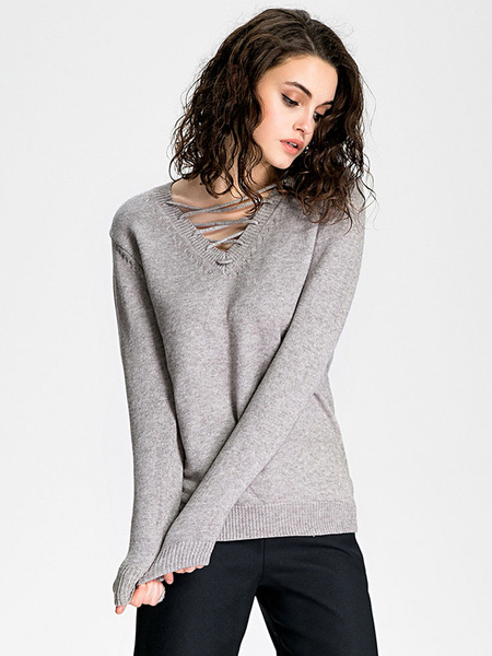 Женская пуловер свитер кружева с длинным рукавом свободного покроя вязаный свитер