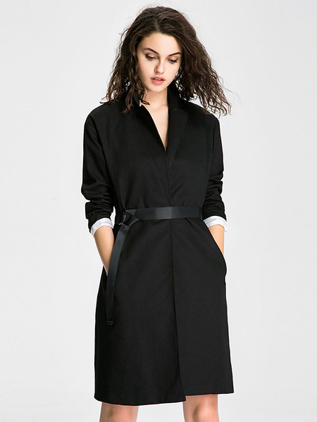 Image of Black Longline Coat Women's Long Sleeve Lapel Winter Coat