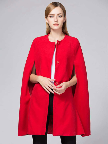 Red Cape Coat Women's Jewel Neck Sleeveless Winter Coat
