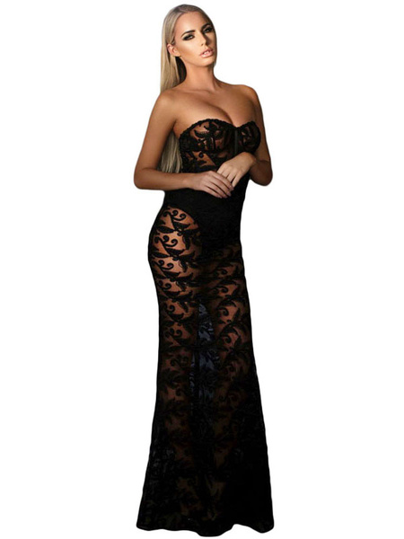 Sexy Lace Dress Black Strapless Semi Sheer Floor Length Dress Fake Two Piece For Women фото
