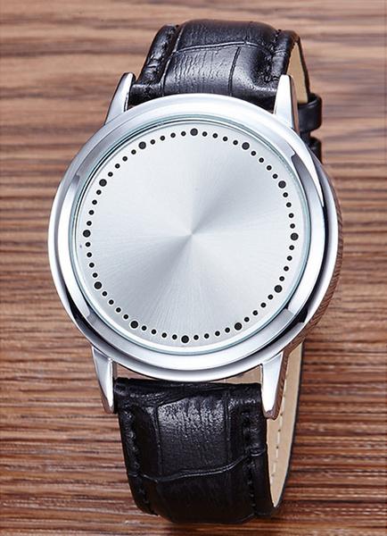 Белые Светодиодные Часы Унисекс Сенсорный Экран Кожаный Ремешок Цифровой Наручные Часы