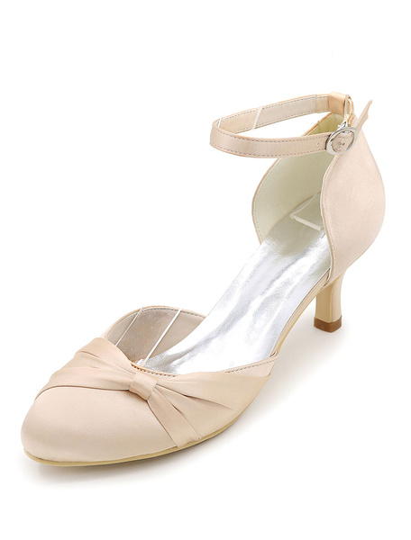 Ivory Bridal Shoes Satin High Heel Round Toe Ankle Strap Kitten Heel Pumps For Wedding
