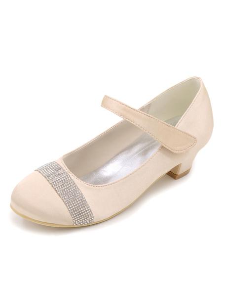 White Flower Girl Pumps Rhinestones Chunky Heel Mary Jane Shoes фото