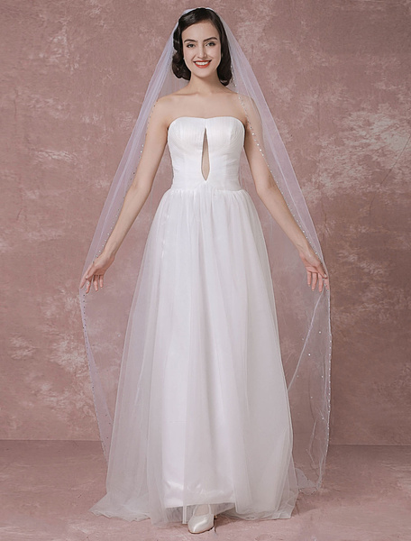 Ivory Wedding Veil Tulle One-Tier Beaded Edge Bridal Veil