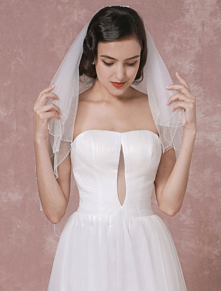 Two-tier Wedding Veil Tulle Beaded Edge Bridal Veil