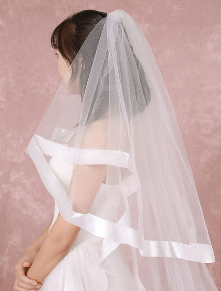 Cathedral Wedding Veil White 2-tier Net Waterfall Bridal Veil With Ribbon Edge