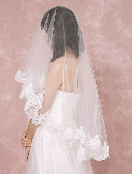 Short Wedding Veil 1-tier Lace Trim Oval Net Waterfall Bridal Veil