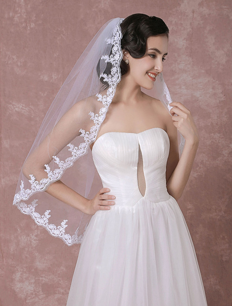 Tulle Wedding Veil White One-Tier Lace Applique Edge Bridal Veil