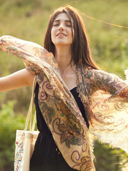 Women's Floral Printed Lightweight Scarf