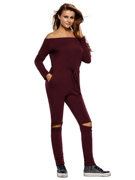 Women's Burgundy Jumpsuit Skinny Off The Shoulder Cut Out Rompers фото