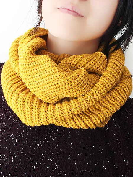 Yellow Infinity Scarf Wool Solid Color Knit Scarf For Women фото