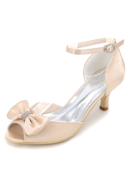 Satin Wedding Shoes Kitten Heel Peep Toe Dinner Shoes Ankle Strap Bridal Shoes With Bow