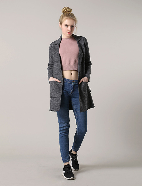 Image of Women'S Cardigan Coat Grey Notch Collar Open Front Longline Coat With Pockets