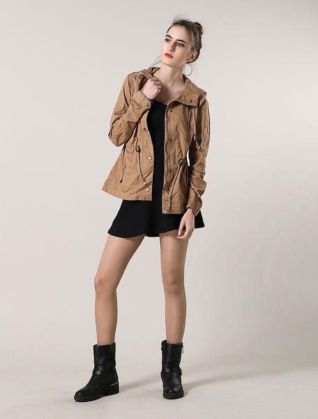 Image of Women Cotton Jacket Khaki Long Sleeve Hooded Drawstring Casual Coat