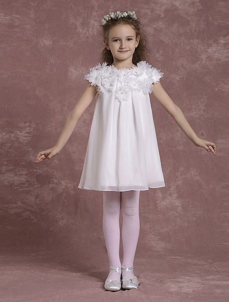 Ivory Flower Girl Dresses Short Chiffon Pageant Dresses Toddler's Zipper Flowers A Line Formal Dress фото