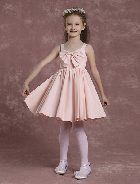 Pink Flower Girl Dresses Straps A Line Pageant Dresses Toddler's Bow Pleated Knee Length Formal Dres Milanoo