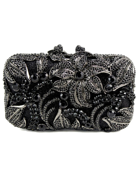 Milanoo Evening Clutch Bag Champagne Bridal Purse Rhinestone Beaded Flowers Wedding Box Handbag (uk40099615) photo