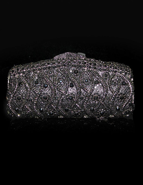Wedding Clutch Handbags Glitter Silver Bridal Purses Chain Strap Luxurious Prom Evening Bags (usa40089611) photo