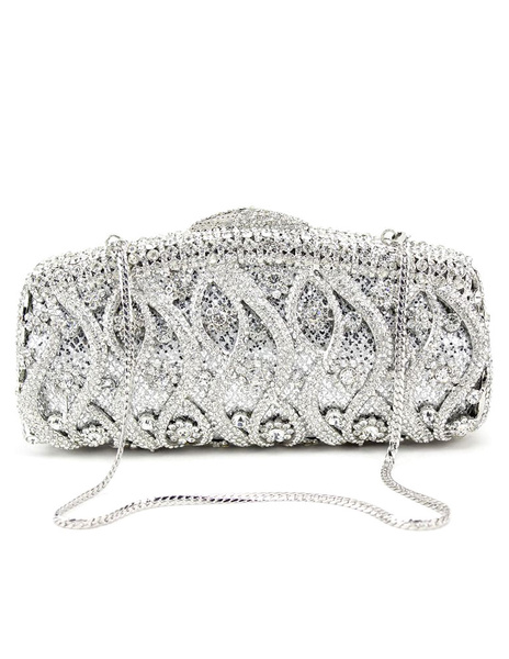 Wedding Clutch Handbags Glitter Silver Bridal Purses Chain Strap Luxurious Prom Evening Bags (usa40089615) photo