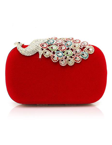 Evening Clutch Bag Wedding Box Handbag Rhinestone Peacock Deco Bridal Purse (uk40099645) photo