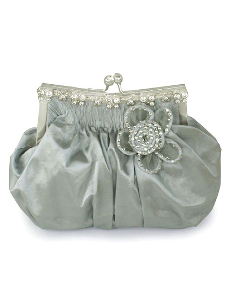 Wedding Clutch Bag Blue Beaded Flower Kiss Lock Purse Ruched Bridal Evening Bags (usa40099481) photo