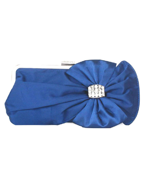 Milanoo Bridal Clutch Bag Blue Wedding Handbag Bow Rhinestone Beaded Evening Purse (usa40099487) photo