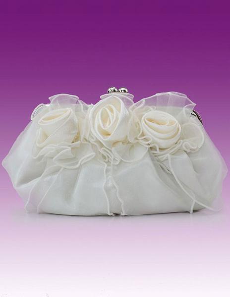 Evening Clutch Bag Wedding Pink Rose Flowers Ruffle Kiss Lock Bridal Purse (uk40099499) photo
