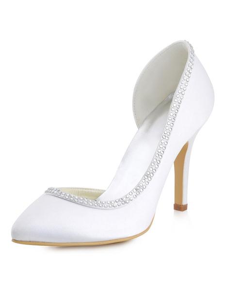Ivory Wedding Shoes Satin Stiletto Heel Pointed Toe Rhinestones Beaded Slip On Bridal Pumps
