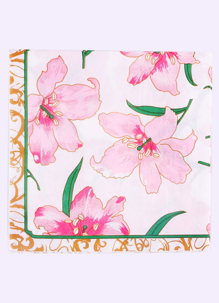 Floral Wedding Napkins Pink Lily Flower Printed Paper Napkins(20pcs/pack)