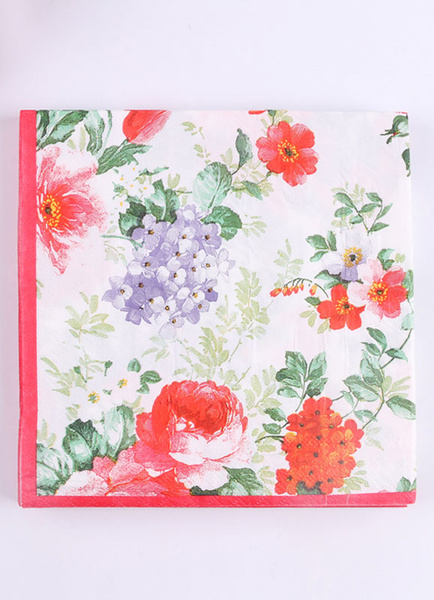 Floral Wedding Napkins Pink Printed Square Party Napkins(20pcs Per Pack)