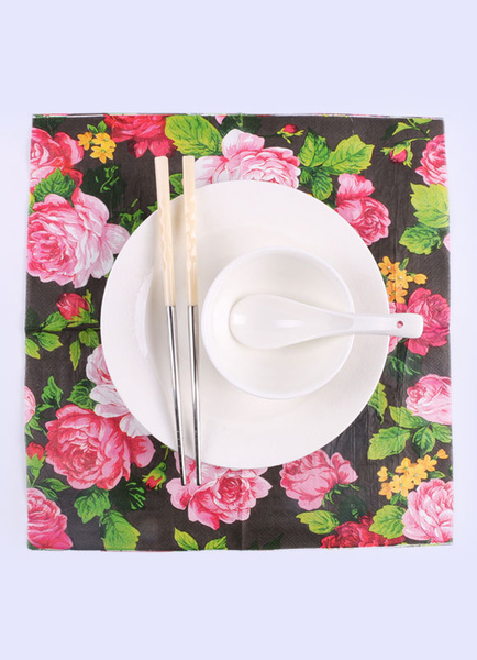 Floral Party Napkins Wedding Rose Flowers Printed Table Placemats (20pcs Per Pack )