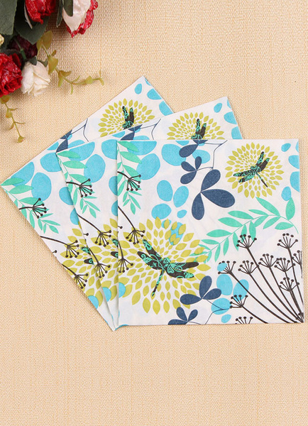 Wedding Party Napkins White Plant Theme Printed Paper Napkins (20 Pcs A Pack)