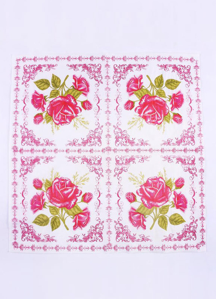 Wedding Party Napkins Floral Fuchsia Printed Table Paper Placemats (20pcs Per Pack )