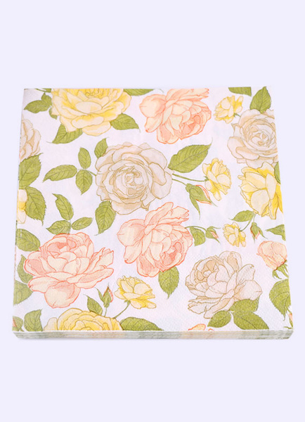 Wedding Party Napkins Beige Floral Printed Paper Napkins ( 20Pcs A Pack )