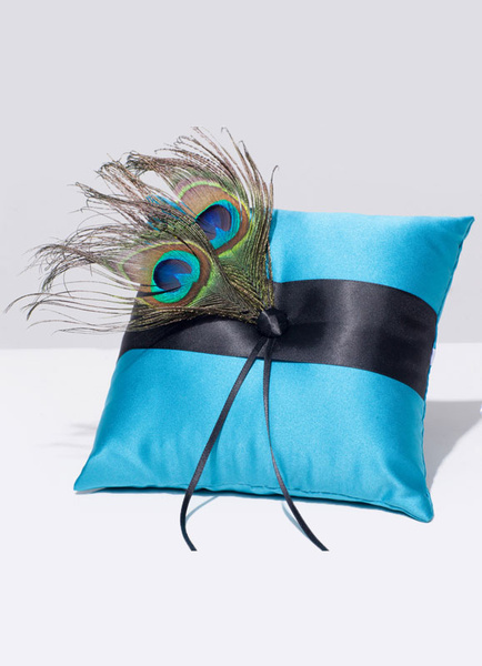 Ring Bearer Pillow Satin Blue Peacock Feathers Ribbons Detail Wedding Pillow фото