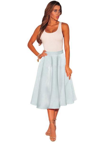 Women's Skater Skirt Light Grey High Waist Pleated Flare Skirt фото