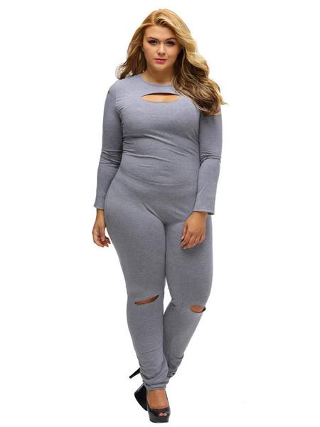 Women's Grey Jumpsuit Plus Size Round Neck Long Sleeve Cut Out Skinny Leg Jumpsuit
