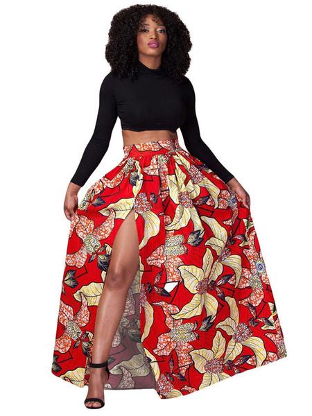 Boho Maxi Skirt Red High Waist Printed Pleated Long Skirt For Women фото