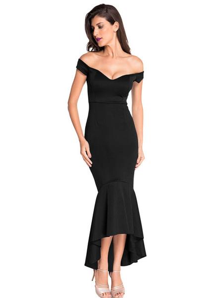 Sexy Bodycon Dress Black Off The Shoulder V Neck Sleeveless High Low Mermaid Evening Dress фото