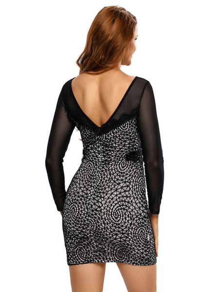 Milanoo / Black Bodycon Dress Lace Round Neck Long Sleeve Slim Fit Sheath Dress