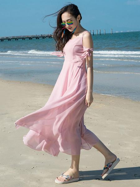 Pink Long Dress Backless Chiffon Dress Women's Straps Split Beach Dress With Bow фото