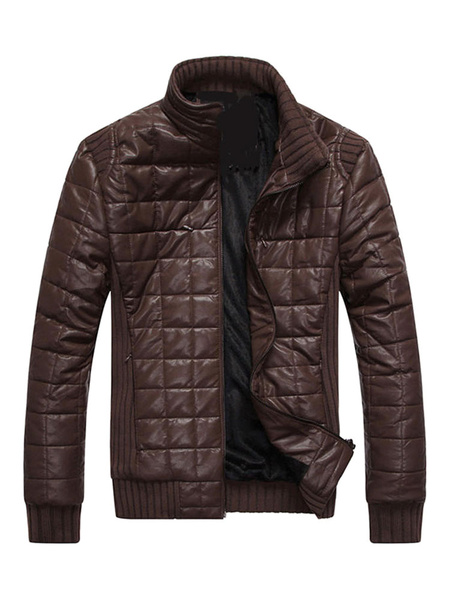 Brown Windbreaker Jacket Quilted Lined Stand Collar Zipper Up Leather Jacket For Men фото