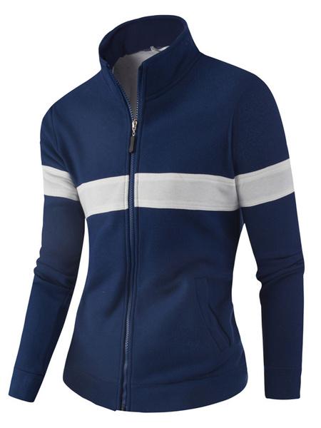Мужская спортивная куртка стоять воротник полосатый с длинным рукавом молнии спортивная куртка