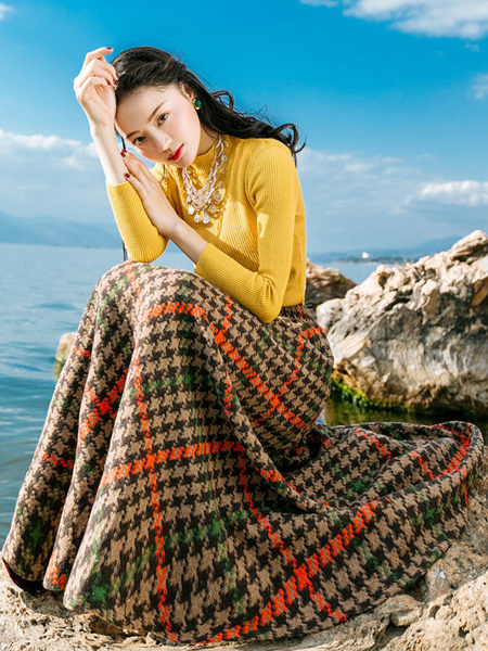 2 Piece Skirt Dress Women's Houndstooth Printed Long Skirt With Yellow Long Sleeve Pullover Sweater фото