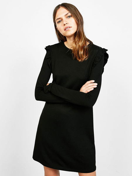 Little Black Dress Long Sleeve Women's Ruffle Round Neck Shift Dress фото