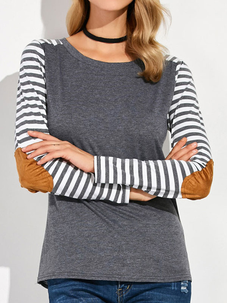 Grey Women's T-shirt Striped Long Sleeve Crew Neck Cotton Casual Tshirts фото