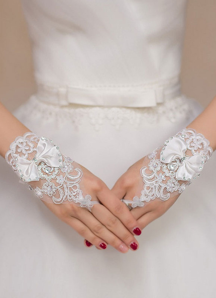 White Wedding Gloves Rhinestone Bows Fingerless Wrist Length Bridal Gloves