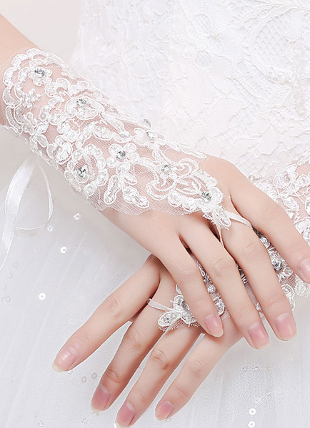 Fingerless Wedding Gloves White Lace Beading Wrist Length Bridal Gloves With Organza Ribbon фото