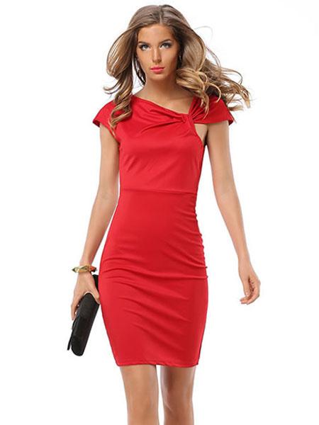 Red Bodycon Dress Women's Asymmetrical Neckline Pleated Short Sleeve Slim Fit Sheath Dress